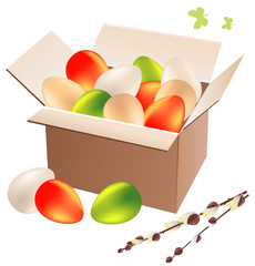 Open box full of colorful easter eggs