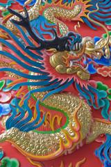 Chinese Dragon at the wall of China temple.