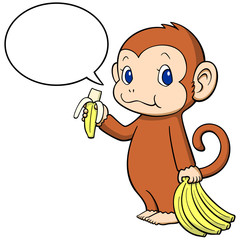 the monkey happily eating a banana