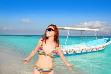 bikini beach tourist sunglasses tropical sea