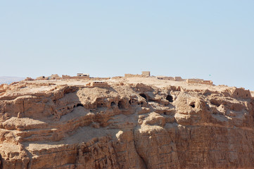 Close view of Masada stronghold, Dead Sea, Israel.