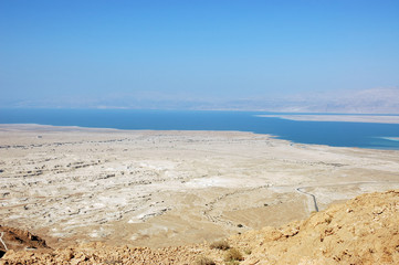 Dead Sea view from Masada, lowest place on the earth.