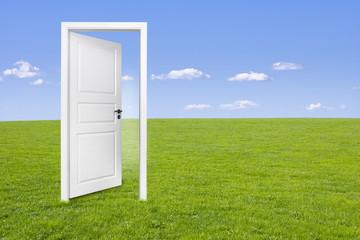 Weiße Tür auf Wiese