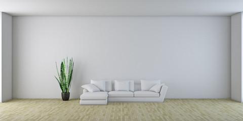 Stanza vuota con finestre e divano