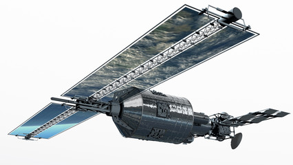 Telecommunication Satellite flying and isolation path in .jpg