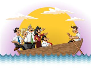 Business cartoon team on boat