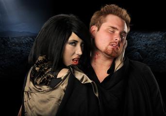 Vampire Woman Biting Man