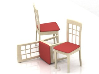 three wooden classic chairs