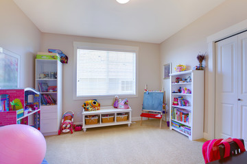 Baby girl play game room in white and pink