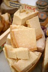 parmesan cheese at a market stall