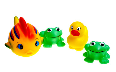 Multicolored rubber toys (frogs, ducks, fish) are isolated on a