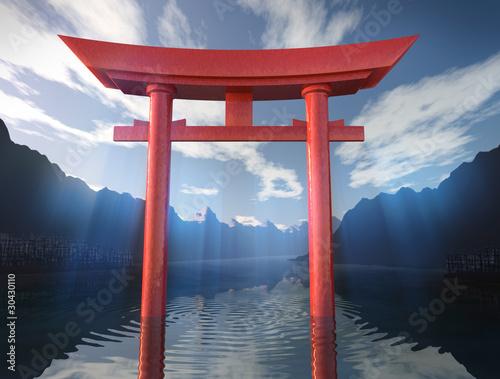 torii japanisches tor im see stockfotos und lizenzfreie bilder auf bild 30430110. Black Bedroom Furniture Sets. Home Design Ideas