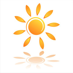 abstract sun icon isolated on white