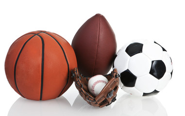 Football, Soccerball, Baseball and Basketball, Isolated, White