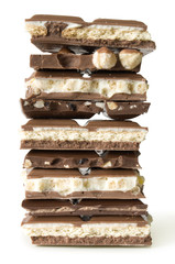 stack of chocolate and cookies isolated on white