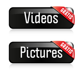 Videos Pictures Button Set Gratis