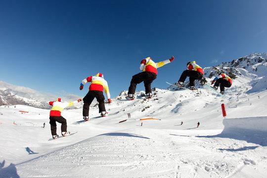 rider, saut snowboard
