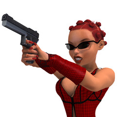 cute and funny female comic spy girl. 3D rendering with