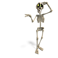 very funny cartoon skeleton. 3D rendering with clipping path