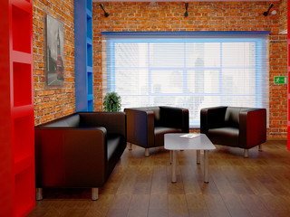 Room with leather furniture and brick walls