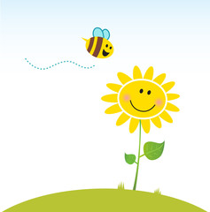 Spring & nature: Happy yellow flower with bee. Vector