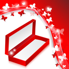 Elegant empty red box on the butterflies background