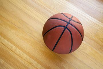 Basketball on hardwood