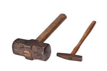 Sledge hammer and list hammer on a white background