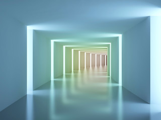 Empty colorfull corridor. Abstract interior
