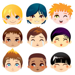 Set of facial expressions of little boys from ethnic groups