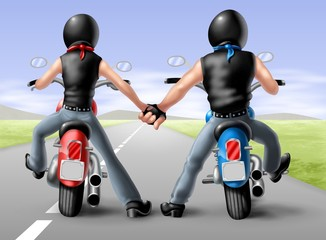 Wall Mural - coppia bikers 2