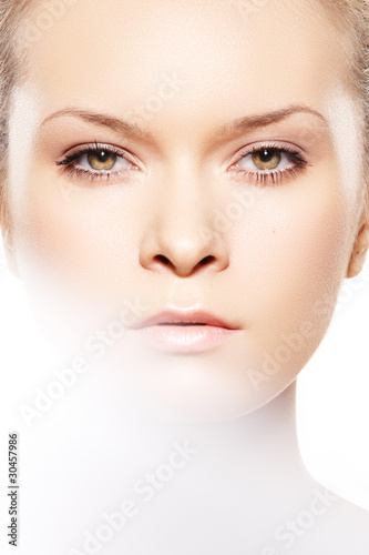 front view close up face of spa woman model with natural make up