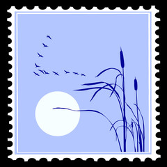 silhouette of the birds on postage stamps