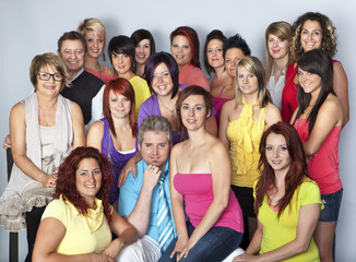 Group photo team of hairdressers with owners of business