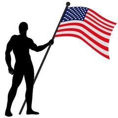 Vector illustration of a flag bearer_USA