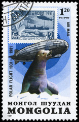 MONGOLIA - CIRCA 1981 Graf Zeppelin and Seal