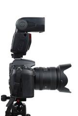 DSLR digital camera on tripod