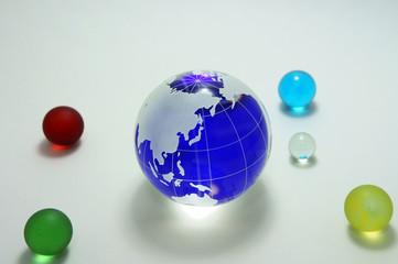 青い地球 ガラス玉