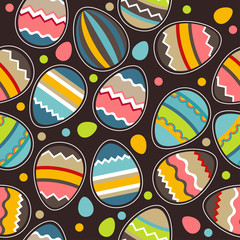 Seamless bright spring pattern with easter eggs