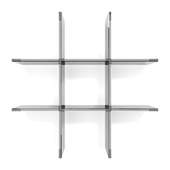 Glass grid shelfs