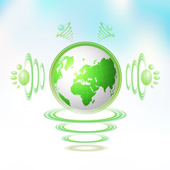 Eco Green Earth character suspended with waves