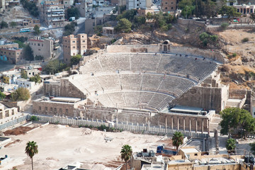 Panoramic view on Roman amphitheater in Amman