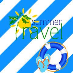 summer travel with blue flip flop illustration