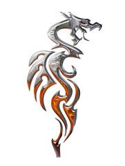 Illustration of a chrome dragon