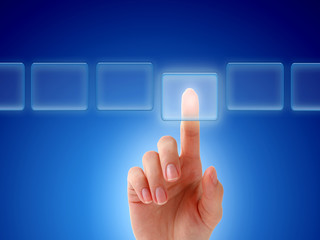 Hand pressing a button.