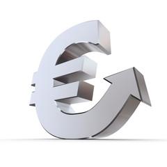 Shiny Euro Symbol with Arrow Up - Silver Metallic