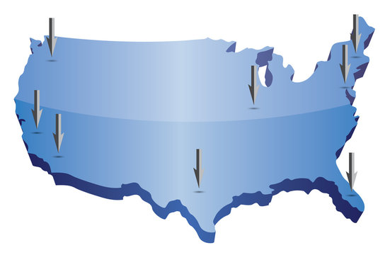 US map pointing locations