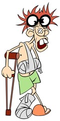 Ill man in glasses with crutches and broken leg and arm.