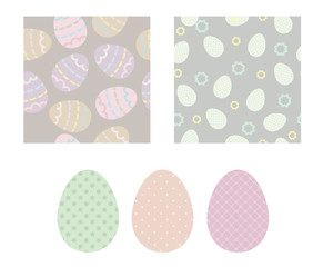 Easter seamless background and ornamental eggs