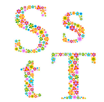 Flower alphabet Characters